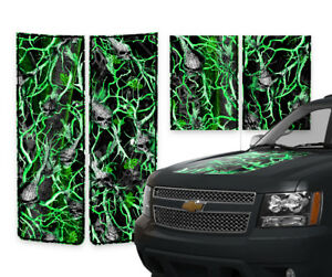 Chevy Avalanche Truck Racing Stripes Hood Gate Decals Green Skull Camo 2000 06