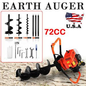 4hp 72cc Gas Powered Post Hole Digger With 4 8 12 Earth Auger Digging Engine