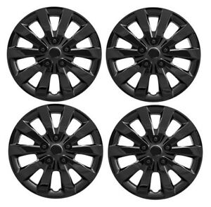 New Black 16 Hubcap Wheelcover Set That Fits 2013 2017 Nissan Sentra