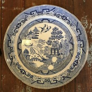 Antique 19th Century Old Blue Willow Dinner Plate 10 25 Staffordshire Ironstone