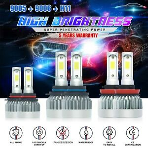 9005 9006 H11 Led Headlight Hi Low Beam Bulb 6000k Fog Light Sets 4965w 744750lm