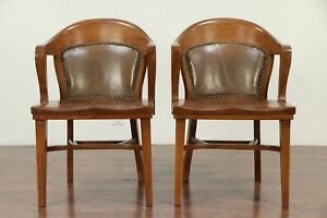 Pair Of Oak Antique Banker Library Or Office Chairs Tan Leather Backs 29934