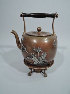 Gorham Tea Kettle On Stand Antique American Mixed Metal Silver Copper 1882