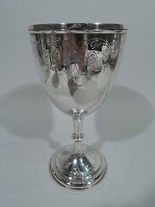 Victorian Goblet Antique Festive Fluid English Sterling Silver 1876