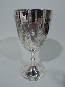 Victorian Goblet Antique Foliage English Sterling Silver Holland 1877
