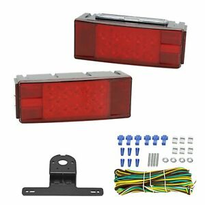Led Trailer Boat Rectangle Stud Stop Turn Tail Lights Submersible Wire Harness