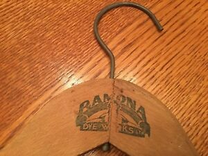 Antique Wood Clothes Hanger Advertising Ramona Dye Works Los Angeles Pasadena