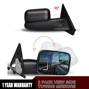 Tow Mirrors For 02 09 Dodge Ram 1500 03 09 2500 3500 Manual Flip up Power Heated