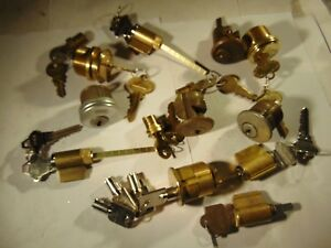 14 Vintage Mortise Rim And Knob Locks Cylinders Some With Key Locksmith