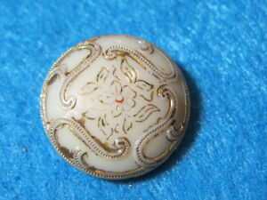 Antique Button Victorian Cream Glass With Gold Lustre