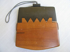 Antique Japanese Wooden Tobacco Pouch Brown Black Saw Tooth Case Box On Cord