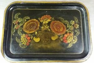 Antique Tole Painted Tin Tray 14 X 10 Hand Painted Toleware Primitive