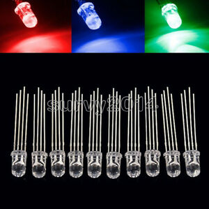 100 200 500 1000pcs 5mm 4pin Rgb Tri color Common Anode Led Light Red Green Blue