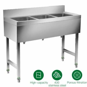 Heavy Duty Three 3 Compartment Stainless Steel Commercial Sink Kitchen Ki