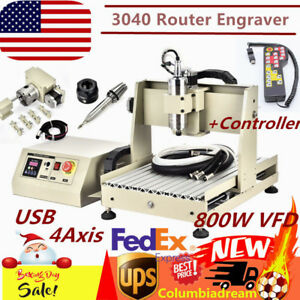 800w Vfd Usb 4axis 3040 Cnc Router Engraver Engraving Milling Machine controller