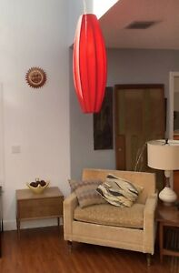 Sexy Mid Century Eames Nelson Style Red Cigar Pendant Hanging Light Lamp Silk