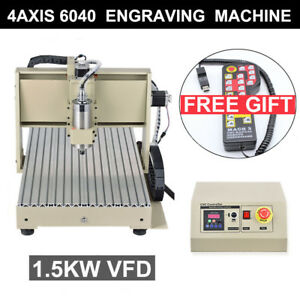 1500w 4 Axis Usb 6040 Cnc Router Engraver 3d Engraving Machine Wood Pvc 3d rc