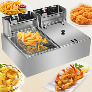 12 7qt Electric Deep Fryer Dual Tank Fry Basket Commercial 5000w 12l