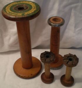 Antique Vintage Industrial Thread Spools Bobbins Spindles 4