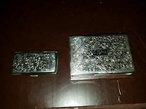 Beautiful Antique Rare Sterling Silver Cigarette Box And Matching Case Fancy