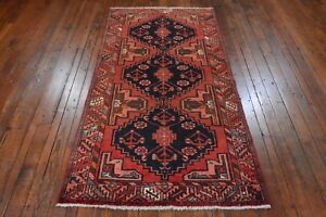 Vintage Persian Hamadan Design Runner 3 X7 Red Coral All Wool Pile