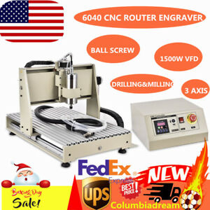 3 Axis 6040 Cnc Router Engraver Engraving Drilling Machine Ball Screw 1 5kw Vfd