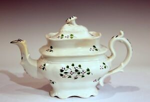 Antique Sprigware English Staffordshire Adams Stoke Cottage Form Pottery Teapot