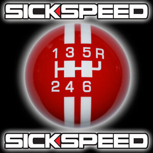 Red white Rally Stripe Shift Knob For 6 Speed Short Throw Shifter Lever Un2 B