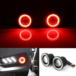 3 5 Cob Led Fog Lights Projector Car Red Angel Eyes Halo Ring Drl Driving Lamp