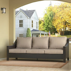 Serta At Home Tahoe Outdoor Wicker Patio Sofa With Cushions