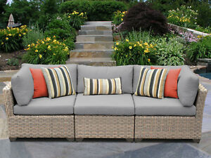 Tk Classics Monterey Patio Sofa With Cushions Gray