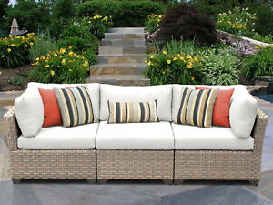 Tk Classics Monterey Patio Sofa With Cushions White