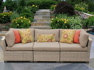 Tk Classics Monterey Patio Sofa With Cushions Wheat