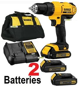 Dewalt 20v Max Li ion 1 2 Compact Drill Driver Kit Dcd771c2 2 Battery 1 Charger
