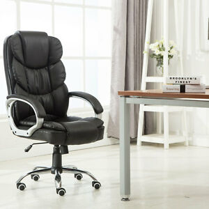 Luxury Pu High Back Leather Office Chair Executive Desk Task Computer Boss Black