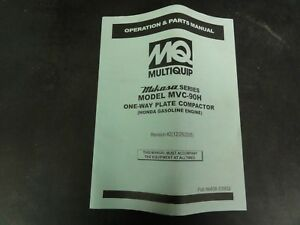 Multiquip Mikasa Series Model Mvc 90h One Way Plate Compactor Parts Manual