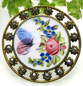 Lovely Antique Champleve Enamel Button W Open Work And Cut Steels G100
