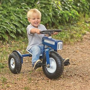 Ol Blue Retro Steel Farm Tractor Tricycle Pneumatic Wheels Adjustable Seat