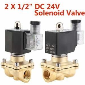 2 X 1 2 Brass Electric Solenoid Valve 24 Volt Dc Water Air Gas Viton Nc Ki