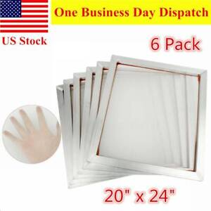 6 Packs 20 X 24 Aluminum Silk Screen Printing Frames Screens White 110 Mesh