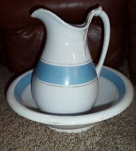 Victorian Antique Anchor White Ironstone Big Wash Set Pitcher Bowl Shabby Chic