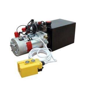 12v 8 quart High Flow Power Up Grav Down Hydraulic Pump Power Unit Dump Trailer