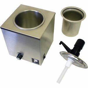 Pro style Stainless Steel Popcorn Butter Warmer With Pump Dispenser Station