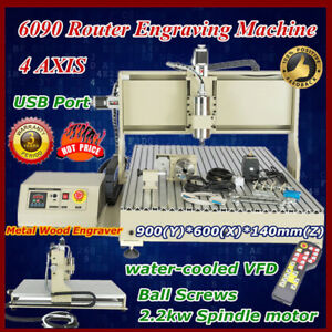 4axis Cnc Router Engraver Engraving Cutting Milling 6090 2 2kw Spindle Remote