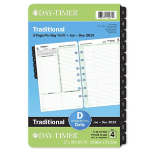 Day timer Planner Refills 2019 Daily Refill 5 1 2 X 8 1 2 Desk Size 4 Loose