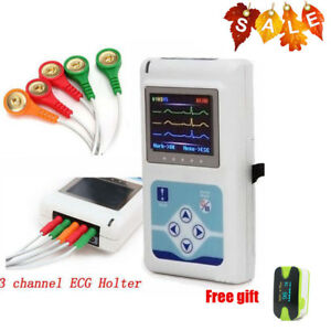 software 3 channel Ecg Ekg Holter System Recorder Electrocardiograph Contec Ce