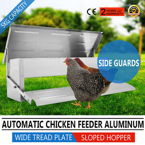 Chicken Feeder Automatic Auto Treadle Self Opening Aluminium Feed Chook Poultry