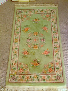 3 X5 Vintage Carved Sculpted Hand Made Classic Aubusson Chinese Wool Rug