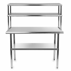 Commercial Stainless Steel Prep Work Table 30 X 60 With Double Overshelf 18 X 60