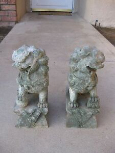 Pair Large Heavy Antique Carved Soap Stone Green White Jade Foo Dogs 25 Lbs Each